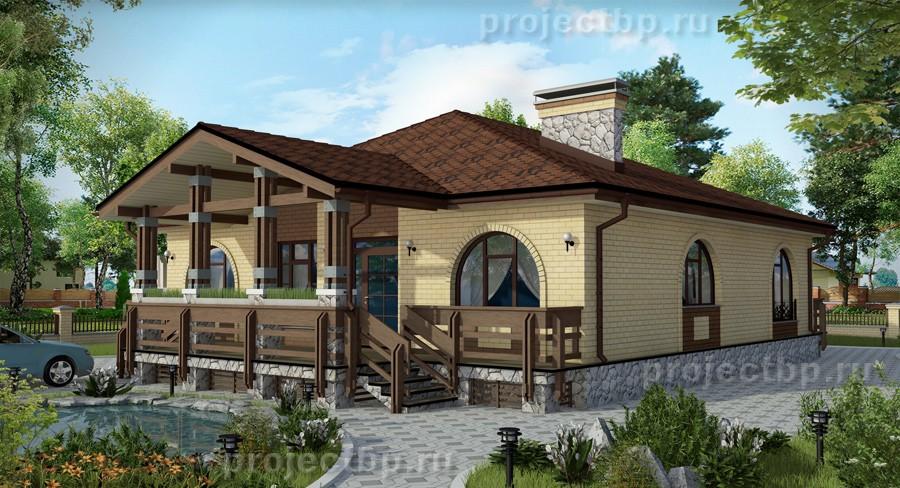 Проект одноэтажного дома с террасой из дерева 125-B